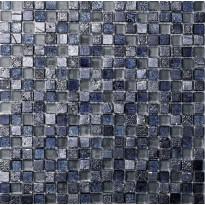 Mosaiikkilaatta Pukkila Lasi-luonnonkivimosaiikki Poseidon Sininen, himmeä, struktuuri, 15x15mm
