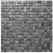 Mosaiikkilaatta Pukkila Lasi-luonnonkivimosaiikki Zoe Harmaa, himmeä, struktuuri, 15x15mm