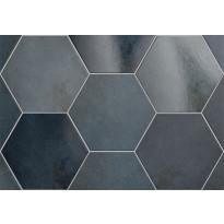 Lattialaatta Pukkila Hexagon Heritage Indigo, himmeä, sileä, 200x175mm