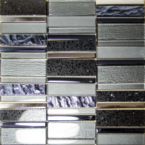 Mosaiikkilaatta Pukkila Stick Black, himmeä, sileä, 307x300mm