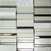 Mosaiikkilaatta Pukkila Stick White, himmeä, sileä, 307x300mm