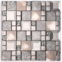 Mosaiikkilaatta Pukkila Metallimosaiikki Mix Kaos Silver, kiiltävä, sileä, 50x50mm
