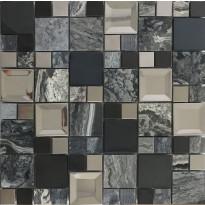 Mosaiikkilaatta Pukkila Metallimosaiikki Mix Kaos Grey, kiiltävä, sileä, 50x50mm