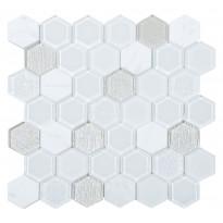 Mosaiikkilaatta Pukkila Lasi-luonnonkivimosaiikki 6-kulmainen Tour White, himmeä, sileä, 50x50mm