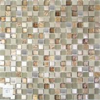 Mosaiikkilaatta Pukkila Lasi-luonnonkivimosaiikki Margo Ruskea, himmeä, struktuuri, 15x15mm