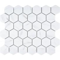 Mosaiikkilaatta Pukkila Carrara hexagon, himmeä, karhea, 51x59mm