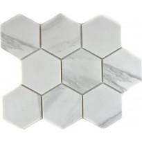 Mosaiikkilaatta Pukkila Carrara hexagon, himmeä, karhea, 95x110mm, Myyntierä 5,46m², Verkkokaupan poistotuote