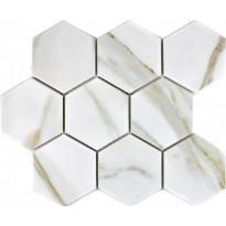 Mosaiikkilaatta Pukkila Calacatta hexagon, himmeä, karhea, 95x110mm