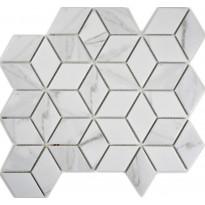 Mosaiikkilaatta Pukkila Carrara diamant, himmeä, karhea, 48x41mm