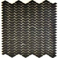 Mosaiikkilaatta Pukkila Cuba Black Kalanruoto, himmeä, sileä, 45x10.5mm