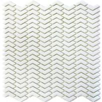 Mosaiikkilaatta Pukkila Cuba White Kalanruoto, himmeä, sileä, 45x10.5mm