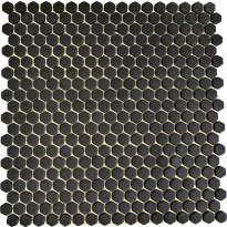 Mosaiikkilaatta Pukkila Cuba Black, 6-kulmainen, himmeä, sileä, 15x15mm