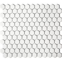 Mosaiikkilaatta Pukkila Hexagon White, kiiltävä, sileä, 25x25mm