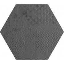 Lattialaatta Pukkila Essence Hexagon Negro, puolikiiltävä, struktuuri, 29x251mm