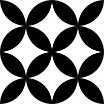 Lattialaatta Pukkila Retromix Black & White Circle Positive Medium, himmeä, sileä, 147x147mm