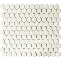 Mosaiikkilaatta Pukkila Hexagon Creme White, himmeä, sileä, 25x25mm
