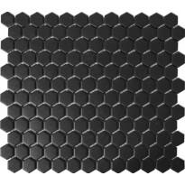 Mosaiikkilaatta Pukkila Hexagon Black, himmeä, sileä, 25x25mm
