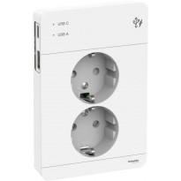 Pistorasia Schneider Electric Exxact, 2-osainen, peitelevyllä + 2x USB lataus A+C 3A, valkoinen