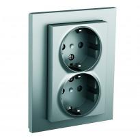 Pistorasia ELKO Plus, 2-osainen/16A/IP20 UPJ/R, alumiini