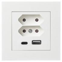 Pistorasia ELKO Plus, 2xeuro+USB 3A/16A/100-240V UPR, valkoinen