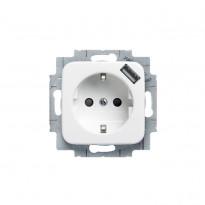 Pistorasia ABB Jussi - 1S/16A/IP21 UKJ 0X USB valkoinen
