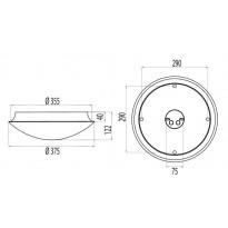 Katto/seinävalaisin Ensto sisä alumiinino - AL375LED20 IP54 LED 17W/840