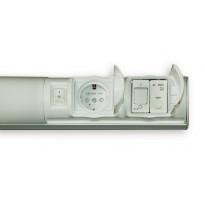 LED-kylpyhuonevalaisin Ensto Alisa, AL14229VLED/DW, 7W/8DW, 597mm, IP44, 1-osainen pistorasia, kytkin, vikavirtasuoja, valkoinen