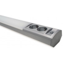 LED-työpistevalaisin Ensto Ami ALH122L450, 6W/830/840, 450mm, 2-osainen pistorasia + kytkin, harmaa