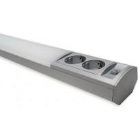 LED-työpistevalaisin Ensto Ami ALH122L550, 9W/830/840, 550mm, 2-osainen pistorasia + kytkin, harmaa