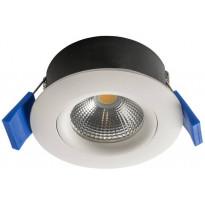 LED-alasvalo Airam Compact, Ø80x39mm, 5W/830, IP44, himmennettävä, suunnattava, valkoinen