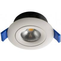 LED-alasvalo Airam Compact, Ø90x40mm, 7W/830, IP44, himmennettävä, suunnattava, valkoinen