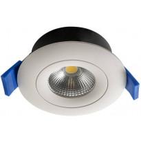 LED-alasvalo Airam Compact, Ø90x40mm, 7W/840, IP44, himmennettävä, suunnattava, valkoinen