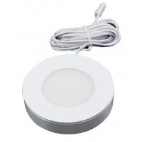 LED-kalustevalaisin Fino, 3W, 24V, 4000K, 190lm, Ø70x16,5mm, valkoinen