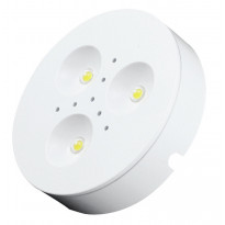 LED-kalustevalaisin Fino, 3x1W, 24V, 4000K, 200lm, Ø70x16,5mm, valkoinen