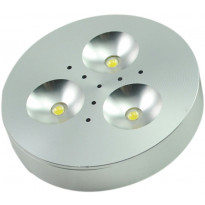 LED-kalustevalaisin Fino 3x1W, 24V, 4000K, 200lm, Ø70x16,5mm, hopea