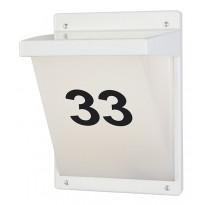 Seinä-/numerovalaisin Airam Vino, max 20W, 285x205mm, IP65, valkoinen/opaali