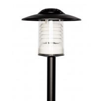 Pylväsvalaisin Airam Tusby Mini, max 60W, E27, Ø345x270mm, IP23, musta/kirkas