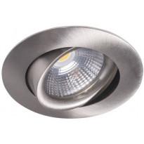 LED-alasvalo Airam Compact, Ø80x39mm, 5W/830, IP44, himmennettävä, suunnattava, satiini nikkeli