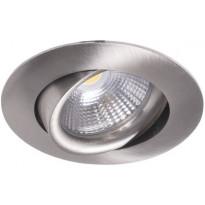 LED-alasvalo Airam Compact, Ø80x39mm, 5W/840, IP44, himmennettävä, suunnattava, satiini nikkeli