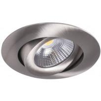 LED-alasvalo Airam Compact, Ø90x40mm, 7W/840, IP44, himmennettävä, suunnattava, satiini nikkeli