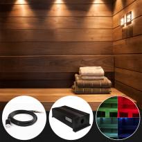 Saunan laudevalaistussarja Cariitti VPL30C-G217 LED-värinvaihtoprojektorilla + 17 kuitua
