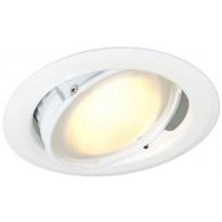 LED-alasvalo Slim 10W, 3000K, DIM 530lm, IP44, Ø110x71mm, valkoinen, suunnattava