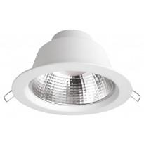 LED-alasvalo Airam Frey, 10.5W/828, Ø145x87mm, himmennettävä, IP44, valkoinen/kirkas