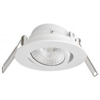 LED-alasvalo Airam Rico, 6.5W/828, Ø80x32mm, himmennettävä, IP44, valkoinen/kirkas