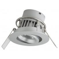 LED-alasvalo Airam Siena, P/E, 6W/828, 36D, Ø80x55mm, himmennettävä, IP44, hopea/kirkas