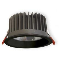 LED-alasvalo Ensto OPUS OPU45LBL, IP65, 4500lm, 840, musta, karkaistulla lasikuvulla, ulkokäyttöön