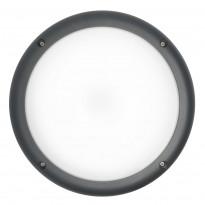 LED-ulkoseinävalaisin Airam Cestus Round, max 100W, E27, Ø261x140mm, IP65, antrasiitti/opaali