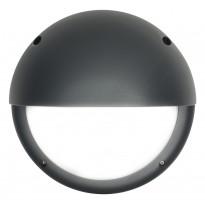 LED-ulkoseinävalaisin Airam Cestus Round Eye, max 100W, E27, Ø261x150mm, IP65, antrasiitti/opaali