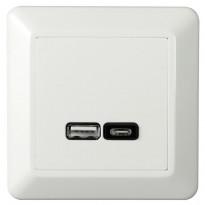 USB-latauspistorasia Elko RS16, USB-PR A+C 2,4A valkoinen
