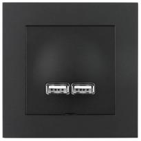 USB-latauspistorasia ELKO Plus, 2,1A, musta
